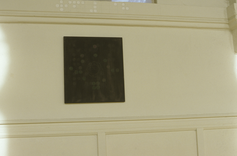 BraillschrifT| Olieverf en Pigment op Vlaams linnen|Detailopname Installatie SynagogE TilburG